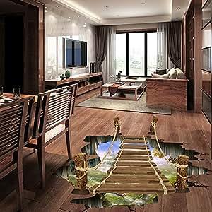ouneed wandaufkleber wandtattoo wandsticker 3d br cken fu boden wand aufkleber entfernbares. Black Bedroom Furniture Sets. Home Design Ideas