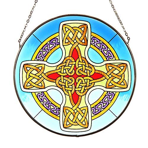Eburya Celtic Knotwork Cross - Keltisches Kreuz aus Irland als Fensterbild aus Buntglas