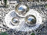 Kugelbrunnen 3er-Set 40/30/20 cm Springbrunnen Gartenbrunnen Edelstahl Poliert LED