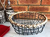 Vintage Round Grey Wire Metal Basket Mesh Storage Container 3 Sizes Available