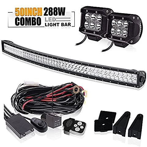 50 Inch Curved 288W LED Light Bar W/ 2X 4Inch Led Pods Cube Driving Fog Lamp 3 Lead Wirng Harness