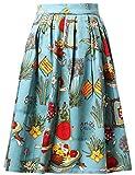 GRACE KARIN Donna Gonna Vintage Vita Alta Pieghe Gonna Linea A con Tasche Midi Longuette CL6294-6 S