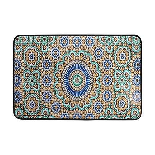 (Zengyan Blue and Green Mosaic Flower Doormats Area Rug Runner Floor Mat Carpet for Entrance Way Living Room Bedroom Kitchen Office (,L x W))