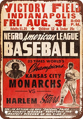 1947 Black Leagues KC Monarcas vs. Harlem Replica - Vintage Look Metal Metal Plate, 12 x 18 inches