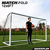 QUICKPLAY PRO Match-Fold 3.7 x 1.8M Gamma di obiettivi da calcio portatili con borsa da trasporto [Obiettivo singolo] Obiettivo di calcio pieghevole con impostazione rapida per club, allenatori e il miglior obiettivo di calcio sul mercato