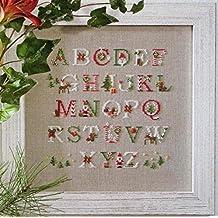 alfabeto Navidad Kit para punto de Cruz, hilos DMC 14ct, 126x128punto 33x34cm Kits de punto cruz