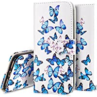 iPhone 7 Case,Flip Case for iPhone 7 - Ukayfe iPhone 7 Wallet Case - Retro Elegant White Blue Butterfly Design PU Leather Flip Protective Case Cover with Stand Folio Flip Leather Case for iPhone 7 - Blue Butterfly