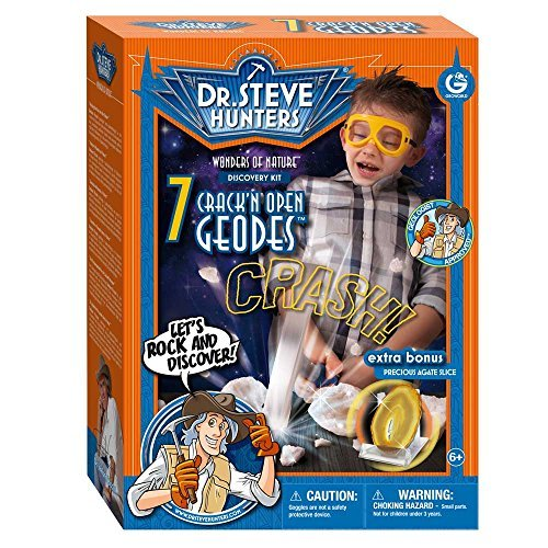 Geoworld Dr. Steve Hunters Wonders of Nature 7 Crack'n open Geodes Plus Agate Cut Slice Kit by Geoworld