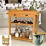 Promotion -20%! SoBuy® FKW08-N XXL Desserte à roulettes en Bambou de haute qualité, Meuble rangement, Kitchen Trolley, L80xH92xP50cm