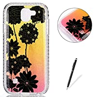 LG K3 2017 Case Silicone,[with Free Black Touch Stylus] KaseHom Gradient Colour Gold and Pink Soft TPU Bumper Skin Bling Glitter Diamond Unique Fashion Design Pattern Ultra Slim Shell Shockproof Anti-Scratch Protective Cover for LG K3 2017,Black Daisy
