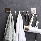 #6: MeRaYo Magic Sticker Series Self Adhesive Stainless Steel 6 Hook Hanger for Kitchen/Bathroom Towel/Utensil Rack/Bedroom Clothing Premium Quality Hanger (White)