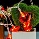 Omika Red Heart Shaped String Lights - Valentine Lights, Battery Powered 20 LEDs Fairy Lights, 8.2ft 8 Modes, Warm White, Perfect for Valentine's day Decorations, Birthday Party, Wedding & Anniversary, Mothers Day Decorations