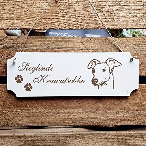 Schild Hund « Whippet Kopf » Türschild mit persönlicher Wunschgravur und Motiv - Größe ca. 20 x 6,7 x 0,5 cm - Shabby Dekoration Namensschild Name - Hunde -