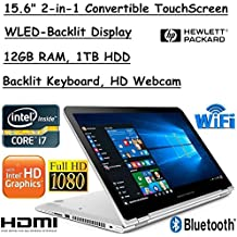 "2018 HP Envy X360 Convertible 2-in-1 15.6"" Full HD IPS Touchscreen Laptop Computer, Intel Quad-Core I7-8550U Up To 4.0GHz, 12GB RAM, 1TB HDD, WiFi 802.11ac, HDMI, Bluetooth 4.2, Windows 10 Home"
