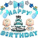 Forniture decorazioni per feste di compleanno MMTX, striscione di palloncini buon compleanno, foglio di elio in 10 pezzi e 12 ballons per feste in lattice per la festa di compleanno di un ragazzo neonato, doccia per bambini (blu)