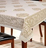 #6: 6 Seater Paisley Beige Dining Table Cover 100% Cotton, 145 cm X 220 cm