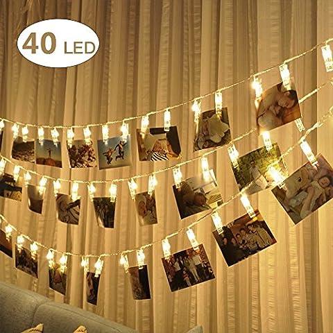 LED Foto Clips Lichterketten, NexLook 40 USB Powered Sternenlicht Licht Wandde für hängende Fotos Gemälde Bilder Karte und Memos für Zuhause, Party, Dekoration, Hochzeiten (Warmweiß)