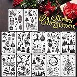 EMAGEREN 12 Stück Weihnachten Schablonen Zeichenschablonen Kunststoff Weihnachts Vorlagen Weihnachtsbäume Santa Templates Frohe Weihnachten Rentier Malerei Schablonen für DIY Weihnachten Dekoration