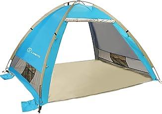 ZOMAKE Pop Up Strandmuschel, Extra Leicht Strandzelt mit Boden UV 80 Sonnenschutz - Familie Tragbares Strand-Zelt - XXL Beach Tent for Baby