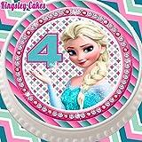 vorgeschnittenen Essbarer Zuckerguss Cake Topper, 19,1cm rund Frozen Elsa Alter 44. Geburtstag