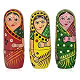 15 PCS Red Yellow Green Color Hand Painted Wooden Russian Nesting Dolls