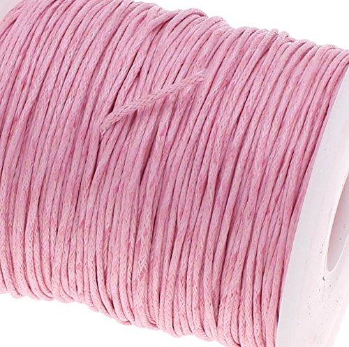 Perlin - 75 m Gewachste Baumwollekordel Rosa 1mm Gewachst Schmuck Schnüre Wachs Fäden ideal zur Schmuckherstellung C175 (Wachs, Faden Schwarz)