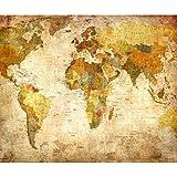 decomonkey Fototapete selbstklebend Weltkarte braun Landkarte Kontinente 392x280 cm XL Selbstklebende Tapeten Wand Fototapeten Tapete Wandtapete klebend Klebefolie Welt Karte Büro gelb Schlafzimmer