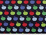 ab 1m: Baumwoll-Jersey, Äpfel, marine-multicolor, 155cm breit