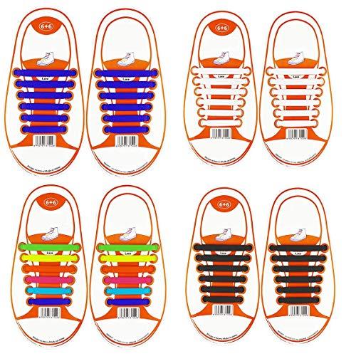 Coolnice Lacets Elastiques No Tie Lacets pour Adultes Femme Woman Imperméables Silicone pour Chaussure, Enfant-multicolore+blanc+noir+bleu Foncé, Kid