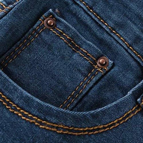 ACHICGIRL Klassische High-Taille Cuffed Denim Shorts Blue