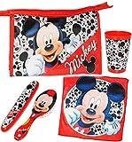 5 tlg. Zahnputzset & Reiseset _ ' Disney Mickey Mouse ' - Kosmetiktasche + Zahnbürstendose & Haarbürste & Zahnputzbecher & Waschlappen - Kulturtasche - transparent / durchsichtig - Kulturbeutel - für Kinderzahnbürste & Babyzahnbürste - Mädchen & Jungen - Zahnbürste - Reise / Kosmetikset - Kinder & Baby / Playhouse / Maus - Mäuse - Micky - zum Hinstellen / Aufstellen - Aufhängen
