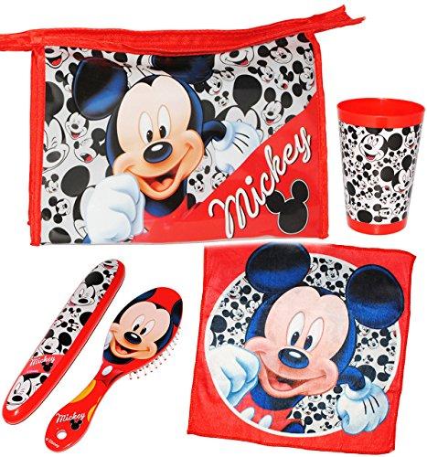 """5 tlg. Zahnputzset & Reiseset _ """" Disney Mickey Mouse """" - Kosmetiktasche + Zahnbürstendose & Haarbürste & Zahnputzbecher & Waschlappen - Kulturtasche - transparent / durchsichtig - Kulturbeutel - für Kinderzahnbürste & Babyzahnbürste - Mädchen & Jungen - Zahnbürste - Reise / Kosmetikset - Kinder & Baby / Playhouse / Maus - Mäuse - Micky - zum Hinstellen / Aufstellen - Aufhängen"""