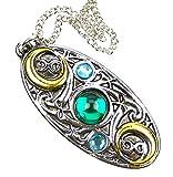Amulett, Medaillon im keltischen Stil...der Mond-Schild aus Hartzinn, teilweise vergoldet, Bi-Color-Optik