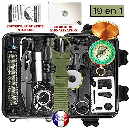 Survivalkit, Überleben Set, Rettungshilfe professionelles survival kit 19 in 1.Die beste Ausstattung zur Verteidigung und zum Angriff für Camping etc...