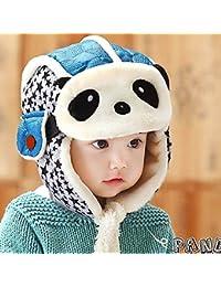 HuntGold Enfants Beau Panda Casquette Chaud Velours Hiver Aviateur Masque Chapeau pour Bébé Bleu