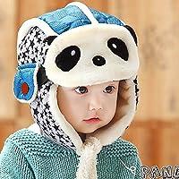 HuntGold Enfants Beau Panda Casquette Chaud Velours Hiver Aviateur Masque  Chapeau pour Bébé Bleu 73b38bc4d65