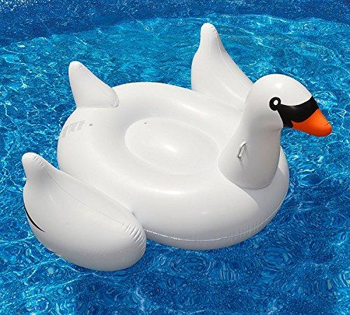 Mystery&Melody Giant Swan Pool Flotador Inflable Piscina al aire libre Swan Flotador Raft Lounger...
