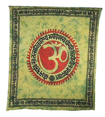 Kunst und Magie Wandbehang Dekotuch Indien OM Symbol ca. 205 cm x 230 cm, Farbe:Grün (Om Tagesdecke)