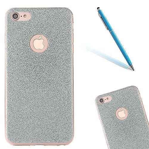 Clear Crystal Rubber Protettivo Case Skin per Apple iPhone 7 4.7, CLTPY Moda Brillantini Glitter Sparkle Lustro Progettare Protezione Ultra Sottile Leggero Cover per iPhone 7 + 1x Stilo - Silver Blue