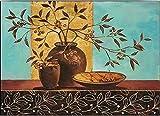 Keilrahmen-Bild - Claudia Ancilotti: Leaf Lounge Leinwandbild Zweige Stillleben modern floral türkis (35x50)