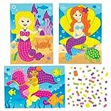 Meerjungfrau-Bastelsets mit Aufklebern und Bild für Kinder Zum Gestalten, Basteln und Aufstellen – Kreatives, Sommerliches Bastelset für Kinder (4 Stück)