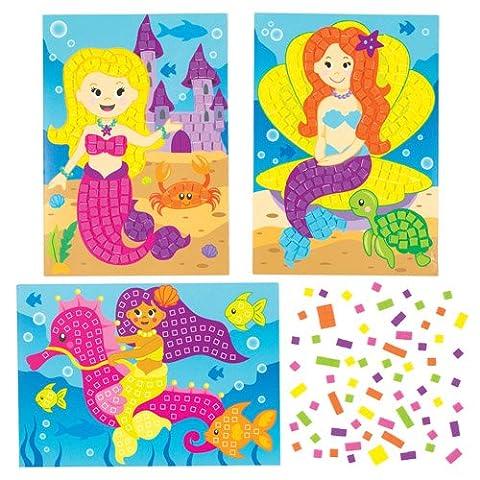 Kits d'illustrations sirènes en mosaïque que les enfants pourront fabriquer et exposer - Kits de loisirs créatifs pour enfant spécial été (Lot de 4)