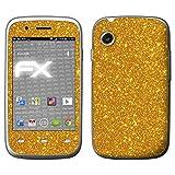 atFolix Skin kompatibel mit Wiko Ozzy, Designfolie Sticker (FX-Glitter-Golden-Fleece), Reflektierende Glitzerfolie