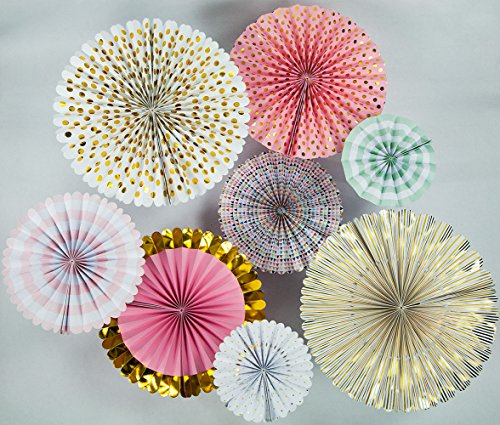 8-pack Wand (Quasimoon Pinwheel Papier Blume Hintergrund Wand Dekorationen von paperlanternstore Modern 8-Pack Collage Metallic Celebration)