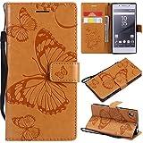 Hozor Sony Xperia Z5 Handyhülle, Retro Großer Schmetterling Muster PU Kunstleder Ledercase Brieftasche Kartenfächer Schutzhülle mit Standfunktion Magnetverschluss Flip Cover Tasche, Goldgelb