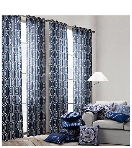 HJJHJ Moderne Minimalistische Printed Curtain Schlafzimmer Wohnzimmer Balkon Semitransparente Vorhänge Set 2, 132 * 213cm