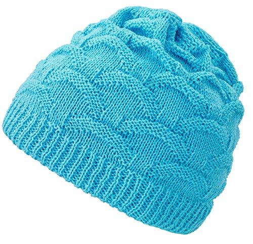 4sold Wave para Mujer Gorro de Lana Gorro Tejido Forro Gorro de Invierno Gorro de esquí y Snowboard Sombreros (Turquoise)