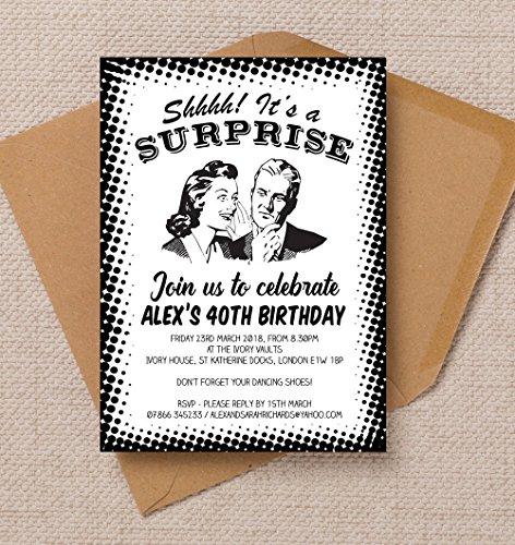personalisierbar Surprise Party Geburtstag Einladungen mit Umschlägen (10Stück)