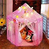 HENGDA Kinderspielzelt Pink Kinderschloss Spielzelt Babyzelt Spielhaus Wählbar mit LED Sternen Beleuchtung eeignet für Familien, Gärten, Parks, Partys,Tagesbetreuung, etc.