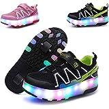LIANGZHI - Scarpe luminose a LED per bambini con ruote, ultraleggere, per attività all'aria aperta, con due ruote, luce di ri